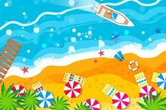 Motoryacht för bästa sikt Stranden vilar ferier för sommarterritorium för katya krasnodar semester tid att löpa stock illustrationer