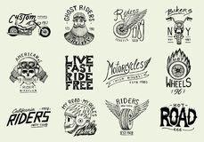Motos et calibres de club de motard Les emblèmes faits sur commande de crâne de vintage, labels badges pour le T-shirt Rétro styl illustration libre de droits