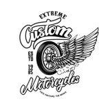 Motos faites sur commande Calibre d'emblème avec la roue à ailes Concevez l'élément pour le logo, label, signe, affiche, T-shirt illustration libre de droits