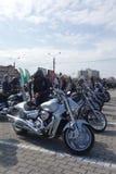 Motos garées à la collecte de motocyclistes Photos stock