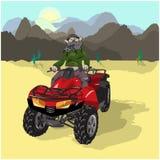 motosafari пустыни иллюстрация вектора