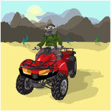 Motosafari on Desert. Man on dune buggy in desert on background of the mountains Stock Images