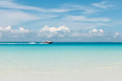 Motoscafo bianco sul mare blu Immagine Stock