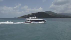 Motoscafo dell'yacht del motoscafo, barca, mare, velocità, viaggio, acqua, blu, crociera, lusso video d archivio