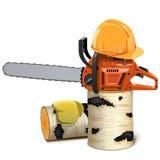 Motosega di vettore con la legna da ardere della betulla e del casco Fotografie Stock