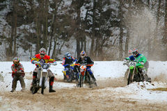 Motoskijoring competition Royalty Free Stock Images