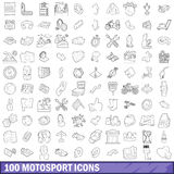 100 motosport icons set, outline style Royalty Free Stock Photography