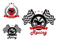 Motosport and racing icons with heraldic elements. Motorcycle with a tire and race flags on the background and heraldic shield with motorbike icons for motosport Royalty Free Stock Photo