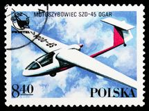 Motoszybowiec SZD-45 Ogar, Polish Sport Planes serie, circa 1978. MOSCOW, RUSSIA - OCTOBER 6, 2018: A stamp printed in Poland shows Motoszybowiec SZD-45 Ogar royalty free stock photos