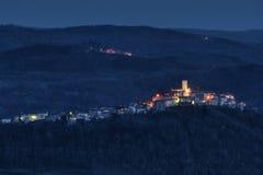 Motovun by Night. Panorama of the historic city of Motovun in Istria, Croatia Stock Photos