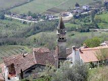 Motovun, una vista al valle abajo Imagen de archivo libre de regalías