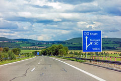 Freeway road sign on Autobahn A81 showing exit to Stuttgart. Motoway road sign on Autobahn 81 / A 81 / E 531 - exit to city Stuttgart - direction to city Singen royalty free stock images