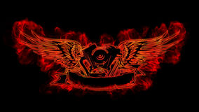 Motowings in flame. Engine and wings in flame Stock Photos