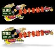 Motown Vintage Artwork Folk Art. Motown Detroit Guitar Vintage Artwork Folk Art Roadsigns Record Music vacation road trip grunge stock illustration