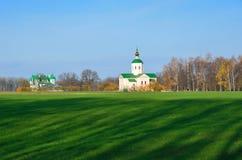 与教会的乌克兰国家风景 免版税库存图片
