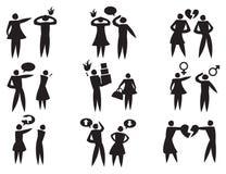 Motsättning mellan mankvinnan i uppsättning för förhållandevektorsymbol Royaltyfri Foto