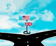 Motsättningar mellan USA och UK Royaltyfri Bild