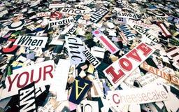 Mots aléatoires et lettres de magazine Photographie stock