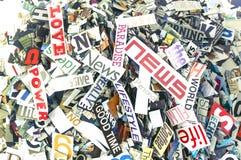 Mots aléatoires et lettres de magazine Photos libres de droits