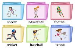 Mots au sujet des sports sur des cartes Images libres de droits