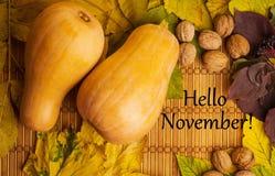Mots bonjour novembre sur le fond rustique Photo stock