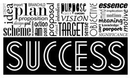 Mots-clés concept et synonymes de succès Bannière de motivation d'idée Images libres de droits