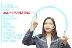 Mots-clés de marketing en ligne sur l'ordinateur de bord en verre Photos stock