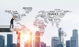 Mots conceptuels d'affaires d'écriture d'homme d'affaires Image libre de droits