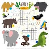 Mots croisé africains d'animaux de safari illustration de vecteur