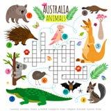 Mots croisé australiens d'animaux Les enfants exprime le puzzle, jeu de vecteur de puzzle de recherche de mot illustration stock