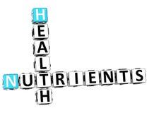 mots croisé d'éléments nutritifs de la santé 3D Images stock