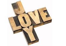 Mots croisé d'amour et de joie Photographie stock libre de droits