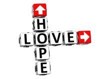 mots croisé d'espoir de l'amour 3D Photographie stock
