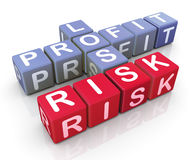 Mots croisé de bénéfice, de perte et de risque Images stock