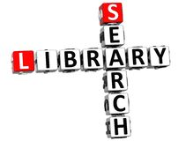 mots croisé de bibliothèque de la recherche 3D Images stock