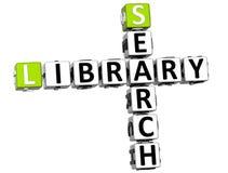 mots croisé de bibliothèque de la recherche 3D Image stock