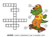 Mots croisé de couleur de vecteur Crocodile gai sur une planche à roulettes Photographie stock