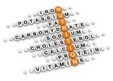 Mots croisé de faits de nutrition Photographie stock