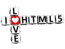 mots croisé de HTML 5 d'amour de 3D I Photographie stock