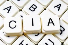Mots croisé de mot des textes de la C.I.A La lettre d'alphabet bloque le fond de texture de jeu Photographie stock libre de droits