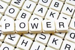 Mots croisé de mot des textes de puissance La lettre d'alphabet bloque le fond de texture de jeu Images stock