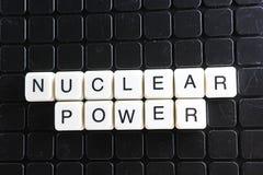 Mots croisé de mot des textes de titre d'énergie nucléaire La lettre d'alphabet bloque le fond de texture de jeu Lettres alphabét Photographie stock libre de droits