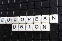 Mots croisé de mot des textes de titre d'Union européenne La lettre d'alphabet bloque le fond de texture de jeu Lettres alphabéti Photographie stock libre de droits