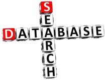 mots croisé de recherche de base de données 3D Images stock