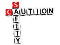 mots croisé de sécurité de la précaution 3D sur le fond blanc Photo libre de droits