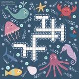 Mots croisé pour des enfants au sujet de la vie marine Photos stock