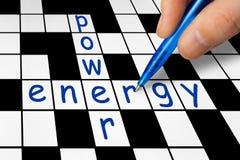 Mots croisé - pouvoir et énergie Images stock
