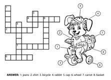Mots croisé sans couleur de vecteur Petit lapin montant une bicyclette illustration libre de droits