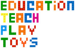 Mots d'éducation de blocs constitutifs illustration stock
