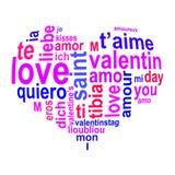 Mots d'amour à un coeur Image stock